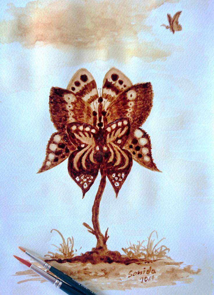 Butterfly - Pillangók coffee painting #kavefestmeny #koffeemalerei #coffeepainting
