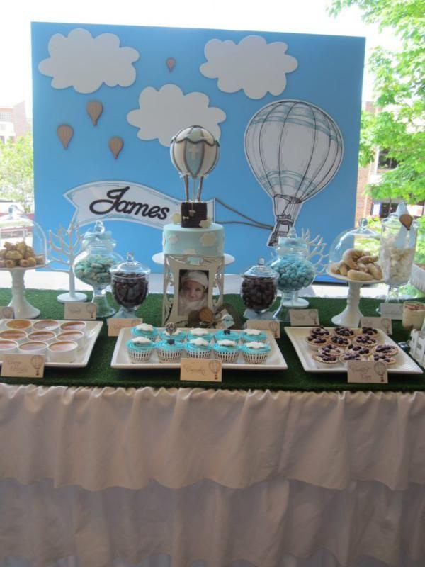 Hot Air Balloon Up Boy Christening Birthday Party Planning Ideas