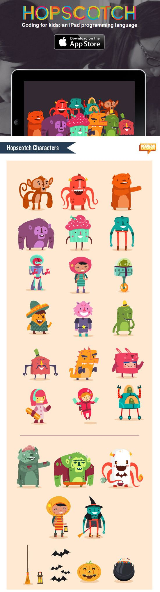 Flat character person, monster, robot https://www.behance.net/gallery/11917743/Hopscotch-characters