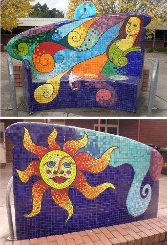 Mosaic garden bench. Love,love,love....