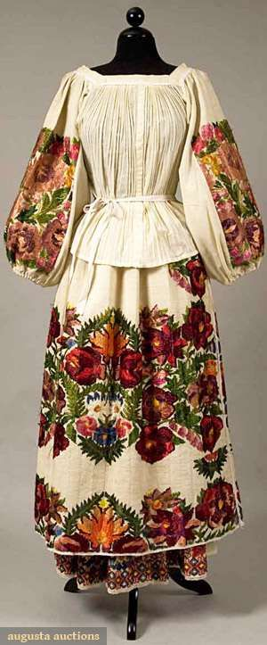 Embroidered Regional dress with floss, wool in squares of large flowers and geometric borders,Croatia from 19th-20th century.