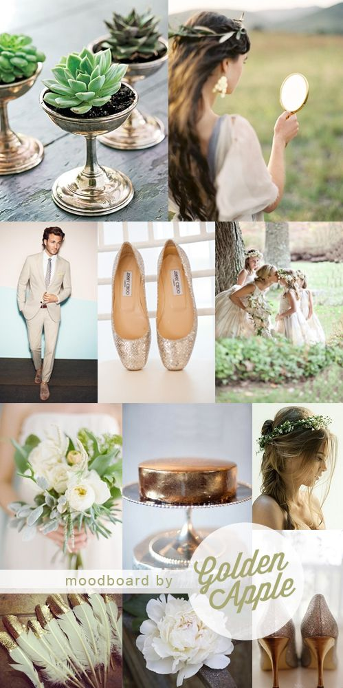 Grecian Goddess gold, white and fresh green wedding inspiration moodboard by Golden Apple Designs