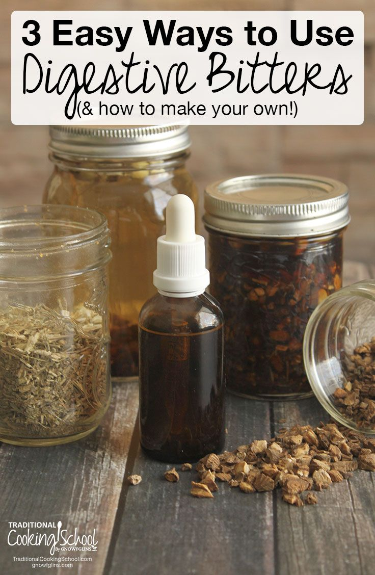3 Easy Ways To Use Digestive Bitters (& how to make your own!) | Are you experiencing sluggish digestion, trouble with gas, burping, or bloating? Your body needs digestive bitters -- a centuries-old tradition to kickstart digestion! Learn how to make digestive bitters, plus 3 easy ways to start using them! | TraditionalCookingSchool.com