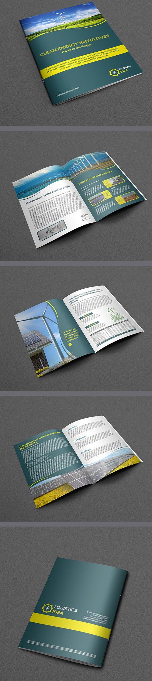 Power Energy Services Brochure Template  #brochuredesign #corporatebrochure #graphicdesign