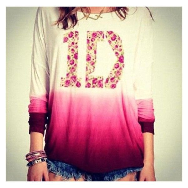 T-shirt: ombre floral one direction long sleeves shorts blouse sweater ❤ liked on Polyvore featuring tops, blouses, floral print blouse, pink long sleeve top, pink blouse, ombre top and floral blouse