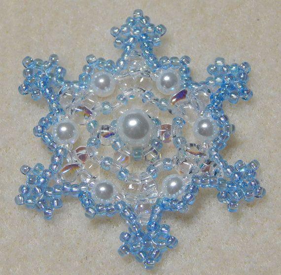 Snowflake 2 Beaded Ornament Pattern by Westtexasjewels on Etsy
