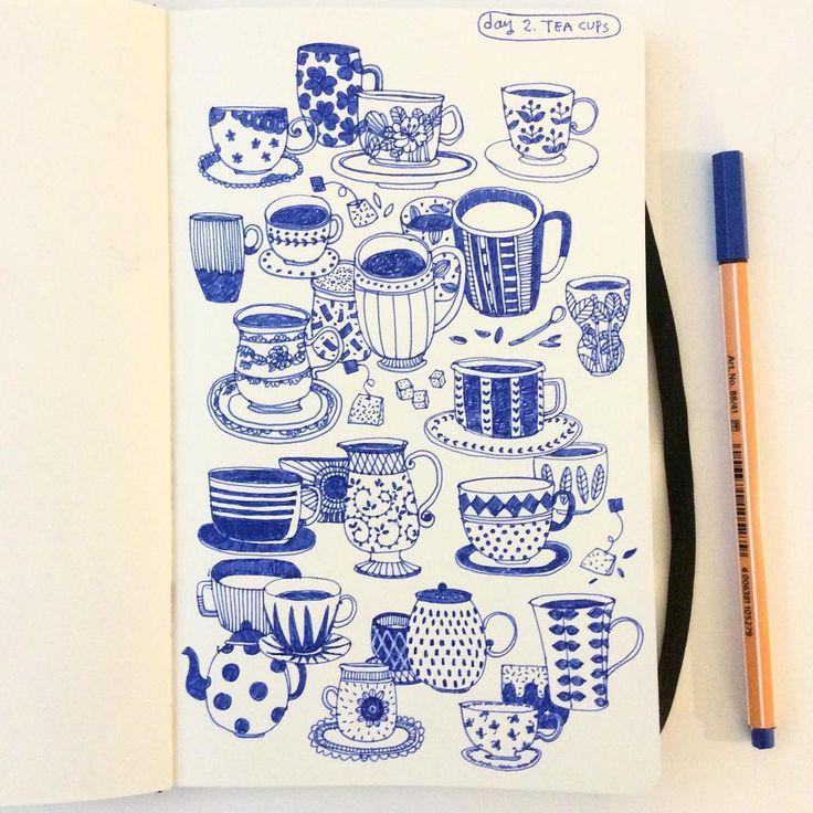 Day 2, Tea Cups #CBDrawADay #creativebug #moleskineart #linedrawing #sketchbook #teacup
