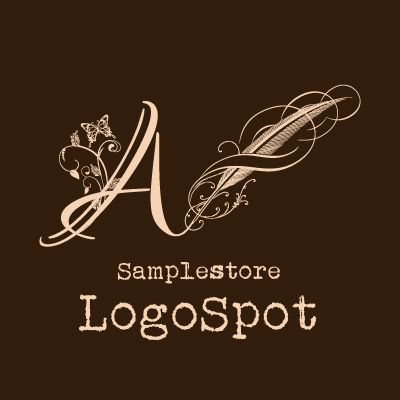 アルファベットA羽根ペンロゴマーク - ロゴマーク作成|ネイルサロン・美容室・サロン系ならかわいいロゴデザイン販売 【LOGO- SPOT】ロゴスポット