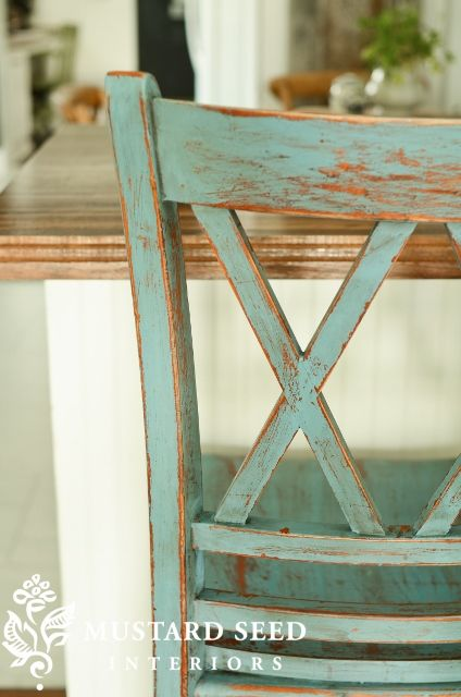 French Enamel Milk Painted Stool by Miss Mustard Seed   LOVE THE COLOR!