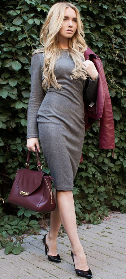 Why Shy Tight-fitting Dress By Love Republic Fall Street Style Inspo