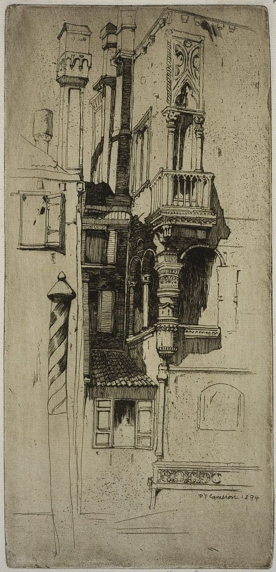 Tintoretto's House, Venice by David Cameron: This is the Venetian home of the artist Tintoretto, where he lived from 1574 until his death in 1594 and reveals the influence of Whistler in the way Cameron combined the beautiful interplay of sunlight bouncing off carved masonry. http://www.nationalgalleries.org/collection/artists-a-z/C/2880/artist_name/Sir%20David%20Young%20Cameron/record_id/3979 Thanks to @Ben Silbermann Silbermann ! #Etching