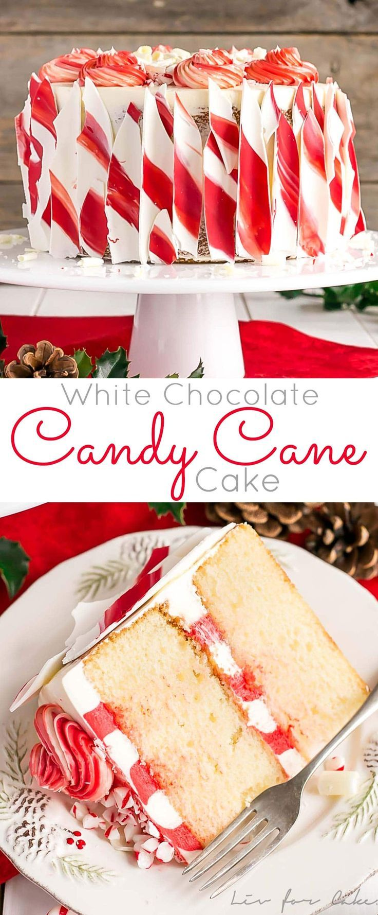 This White Chocolate Candy Cane Cake is the perfect addition to your holiday celebrations!   livforcake.com