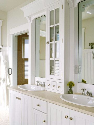 like the narrow cabinet between the sinks