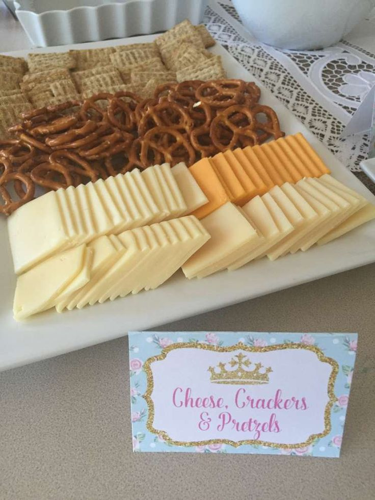 Shabby Chic Princess Tea Party Food Ideas - Cheese Crackers and Pretzels