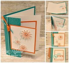 "The Grateful Bunch Bundle is featured in this fancy fold card called a ""Double Front Fold"". Video tutorial, lots of pictures and cutting dimensions all listed here. Stampin' Up!, card, paper, craft , paper, scrapbook, craft, rubber stamp, hobby, how to, DIY, handmade, Lisa Curcio, technique, creative creases, www.lisasstampstu..."