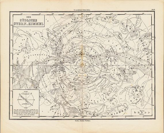 1873 Antique ASTROLOGY CHART engraving, Framed For My Wall: Southern starry sky, signs of the zodiac, original antique print