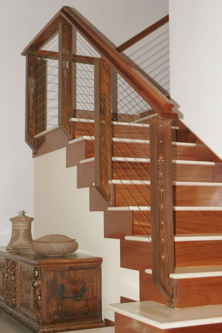 Best Rustic Wood Stair Railings Light Oak Wood Staircase Handrail And Cable Banister Staircase 640 x 480