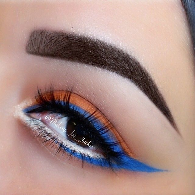 #ShareIG Intricate blue and orange liner look by ✨@Makeup_by_Jackie✨ with @ScottBarnes68 for #FlutterLashes limited edition! So stunning ✨Visit us at FlutterLashes.com✨