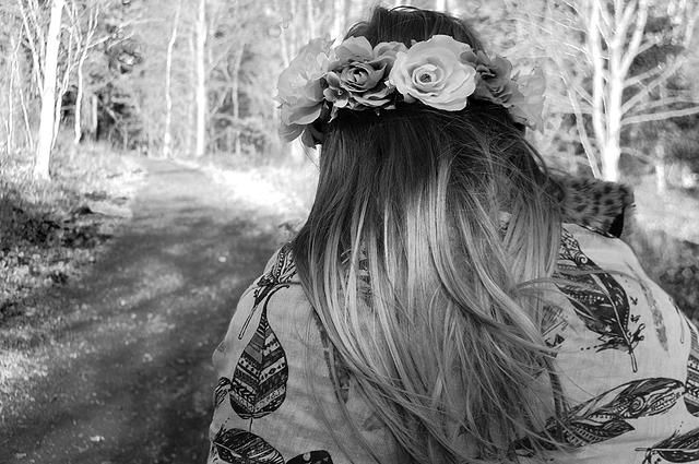Black and white woodland fairy photography dip dye hair