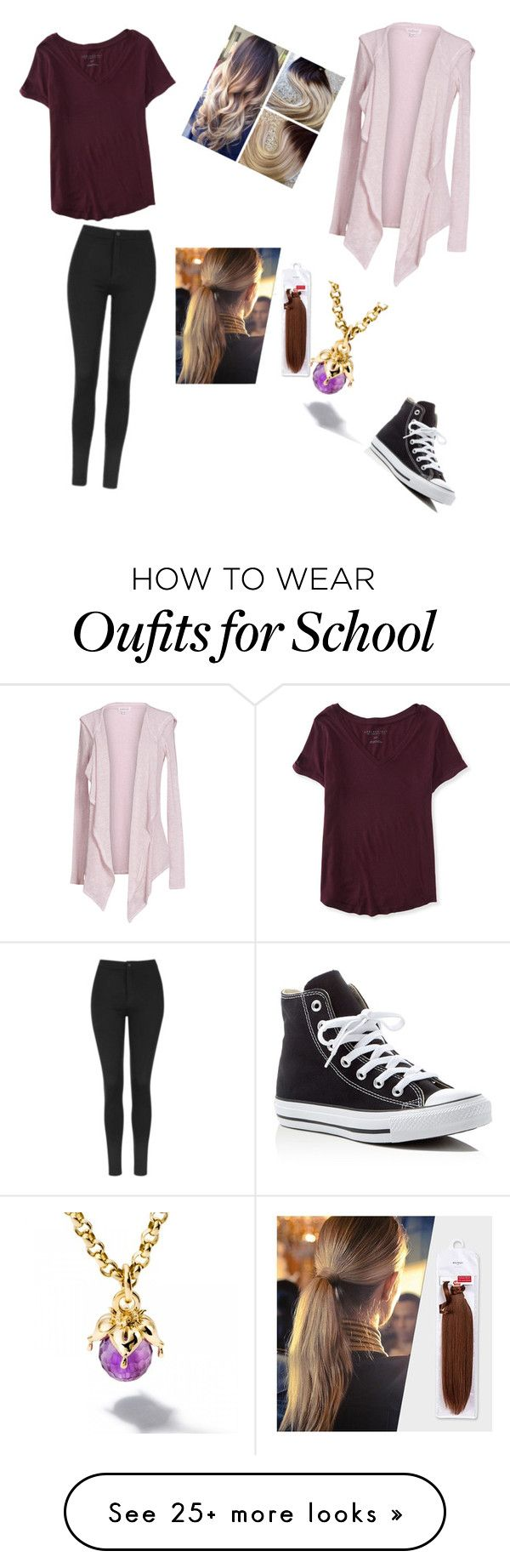 """School outfits @mahaahsan"" by annabeth999 on Polyvore featuring Velvet by Graham & Spencer, Aéropostale, Topshop, Balmain and Converse"