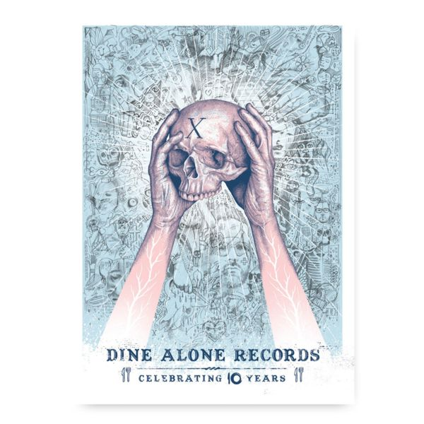 """Paul Jackson DA10 Poster  Various artists who have impressed and inspired our company, and more so influenced Dine Alone's very own aesthetic, have designed their own respective representations of the label.  The second in the series of special edition DA10 posters was designed by artist Paul Jackson to commemorate Dine Alone's 10th Year.  This 18"""" x 24"""" poster is screen printed, and limited to 50."""
