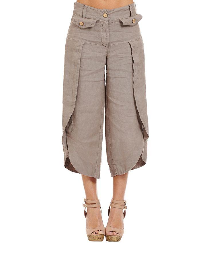 Taupe Tulip-Hem Linen Crop Pants