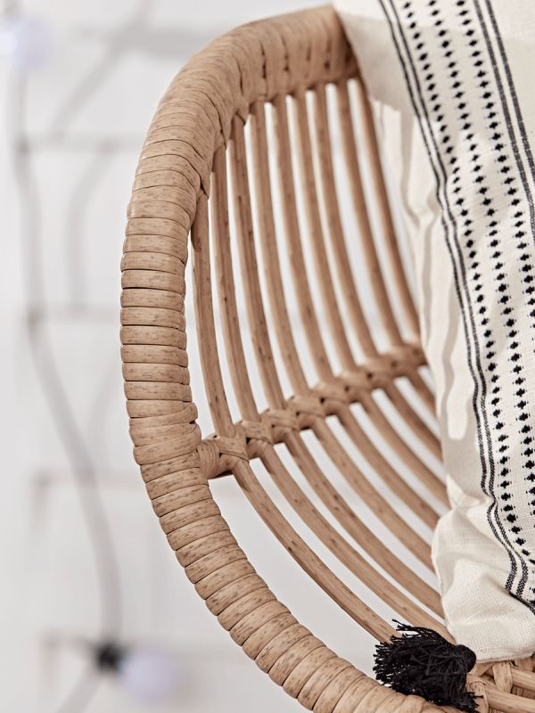 Made from durable faux rattan in a natural blonde tone, our Scandinavian inspired outdoor bench seats two people, perfect for relaxing in your garden with a friend or family member.