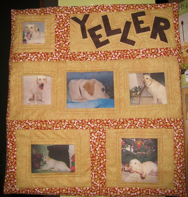 Photos to fabric class sample, Made with photos of our beloved dog, Yeller!