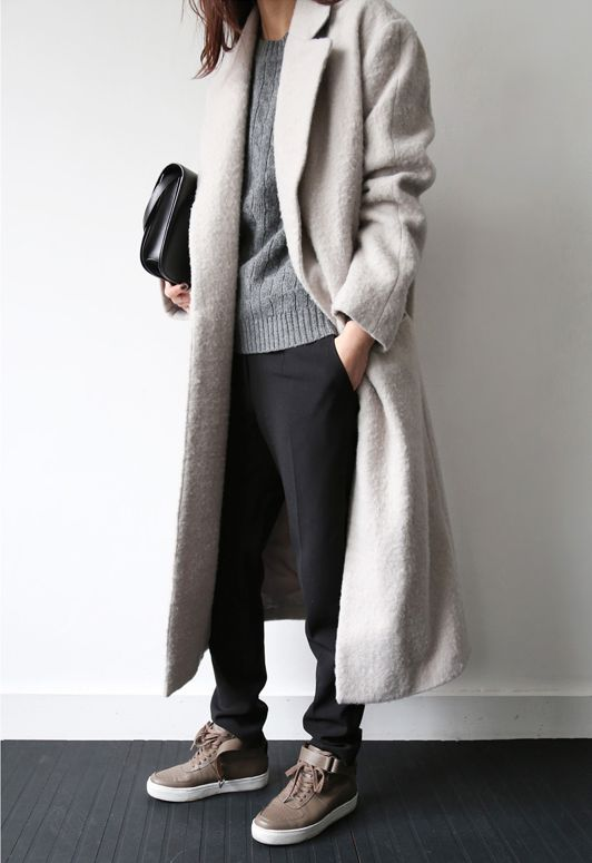 Love the muted colors....and the texture of the coat and the sweater.