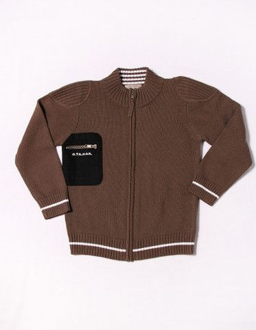 Expresso brown mock neck, zip front sweater with ribbed detail