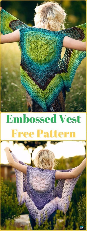 Crochet Embossed BOHO Vest Free Pattern - Crochet Women Sweater Coat-Cardigan Free Patterns