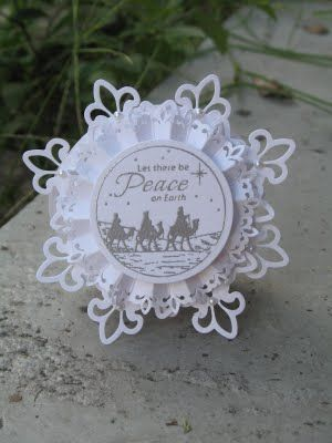 lovely handmade Christmas ornament: Peace On Earth ... Spellbinders dies with Just Rite image ...