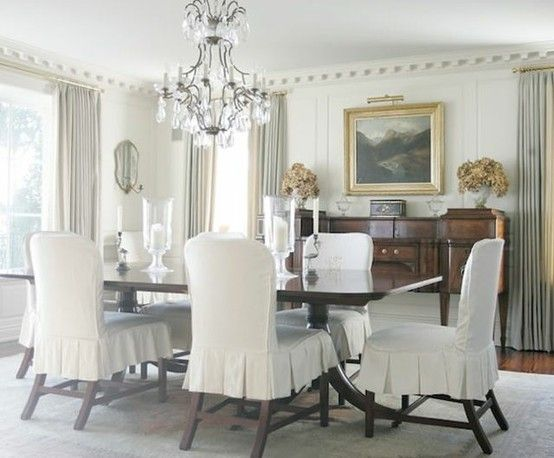 Gray drapes, pretty chair covers