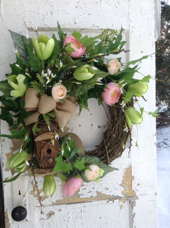 Spring wreath. Rustic spring wreath with by FlowerPowerOhio, $79.99