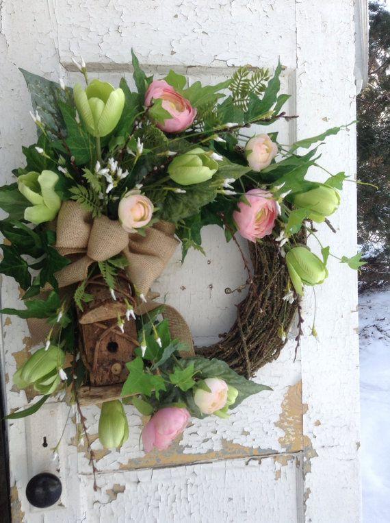 Spring wreath. Rustic spring wreath