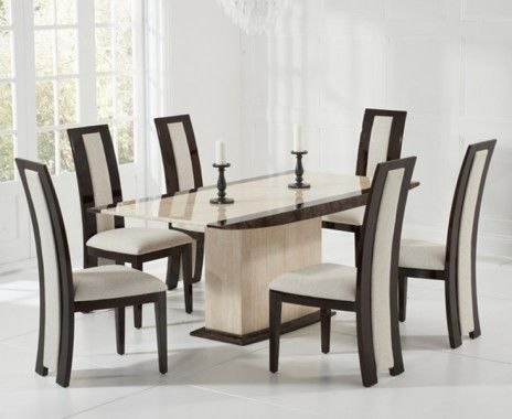 Carvelle 200Cm Brown Pedestal Marble Dining Table With Verbier Unique Marble Dining Room Review