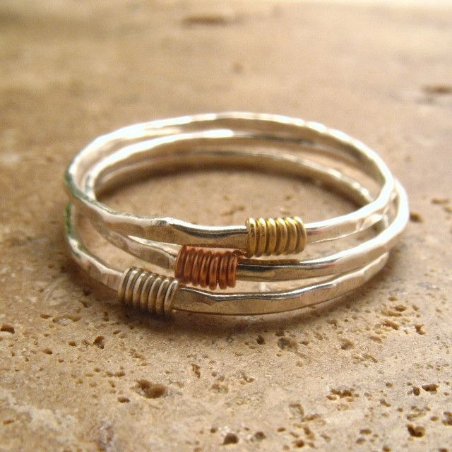 Stacking Ring Set Hammered & Wrapped