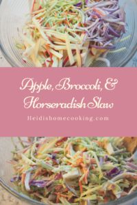 This apple, broccoli, and horseradish slaw is perfect for spring and summer cooking! It is low in calories, adds extra crunch, and is full of vibrant colors! I love the creamy dressing that has just a bit of bite. It's a great salad for a light lunch or a great side at dinner. It is also perfect for a potluck!