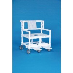 """Bariatric Shower Chair with 30"""" Between Arms Mesh Backrest Color: White by Innovative Products Unlimited. $1099.18. BSC880-WHT Mesh Backrest Color: White Features: -Shower chair.-Slide out footrests standard.-Convenient push handles.-Weight capacity: 900 lbs.-30'' Between the arms. Options: -Mesh backrest available in several colors. Construction: -Constructed of heavy duty 1.5'' PvP. Dimensions: -5-6'' Heavy duty casters.-Seat height: 21''.-Dimensions: 40'' H x 3..."""