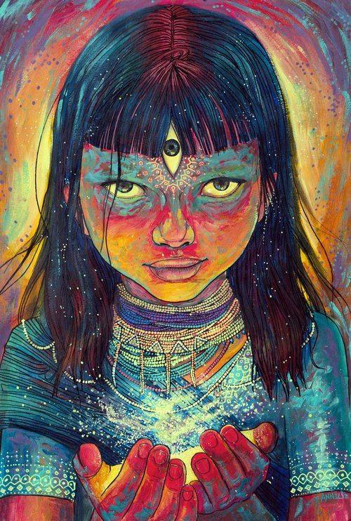 Совсем недавно познакомилась с творчеством молодой художницы Annelie Solis. Увидела и не смогла оторваться. Ее персонажи действительно заглядывают внутрь души и что-то там меняют, делают осмысленным и божественным. У меня от ее работ захватывает дух. Сейчас она достаточно популярна - я часто встречаю ее работы в сети в качестве иллюстраций. Желаю ей дальнейших творческих успехов, а Вам вдохновения от просмотра ее работ.