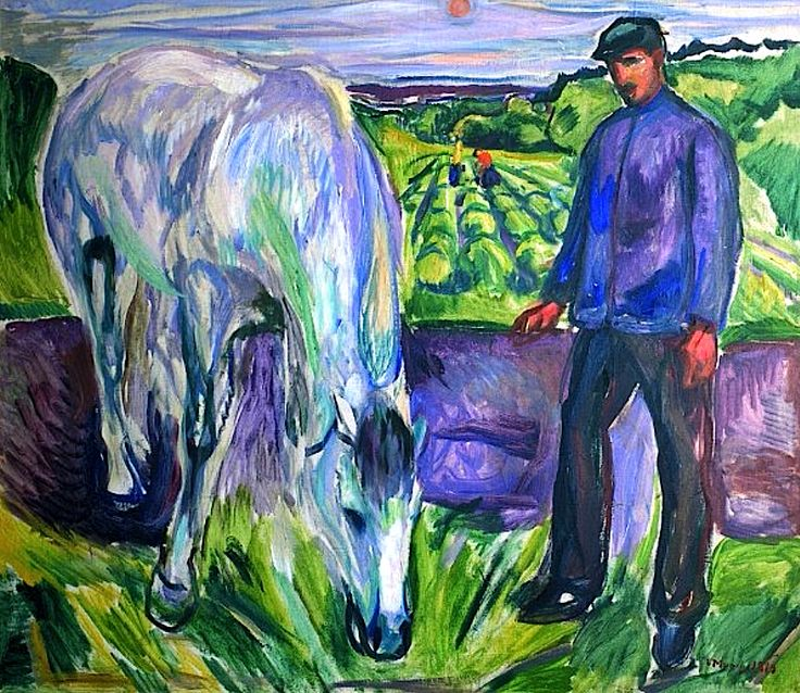 Edvard Munch - Man with Horse, 1918