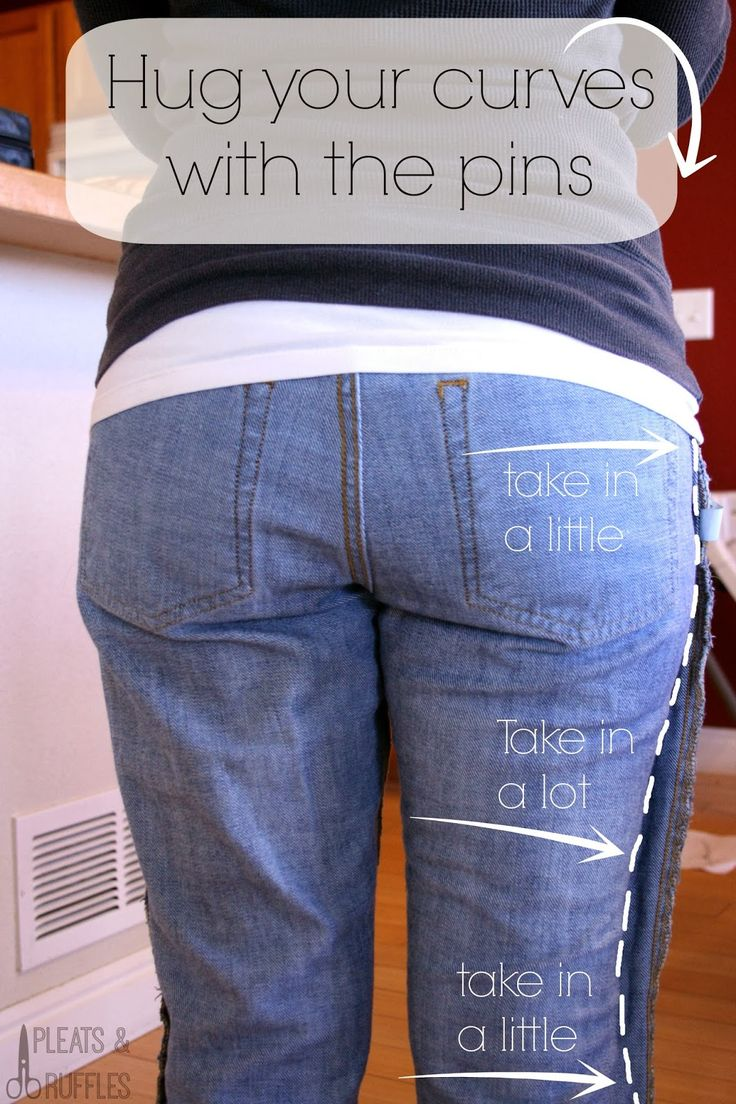 How to Take in only PART of your pants - for baggy pants that don't fit your shape! Much cheaper than buying $100 curvy-petite jeans!!