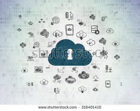 Cloud technology concept: Painted blue Cloud With Keyhole icon on Digital Paper background with  Hand Drawn Cloud Technology Icons