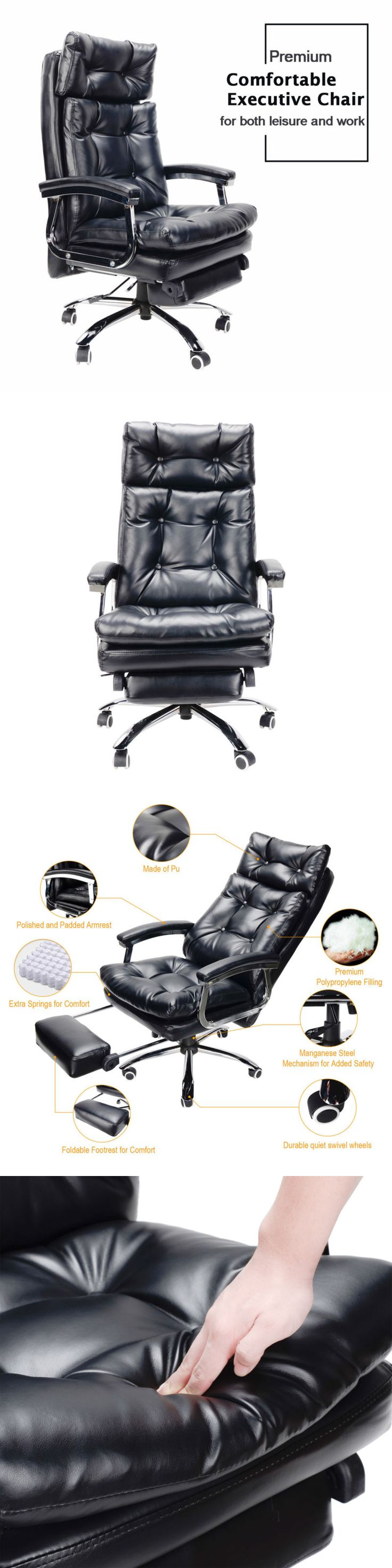 Office Furniture: Executive Reclining Office Chair Ergonomic High Back Leather Footrest Armchair -> BUY IT NOW ONLY: $179.99 on eBay!