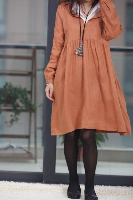 Double layer collar linen dress knee length dress by MaLieb, $68.00