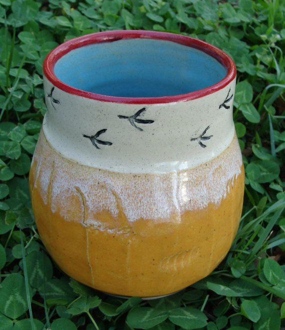 ceramic utensil holder with chicken tracks- stamps and terra sigillata, fluted outside