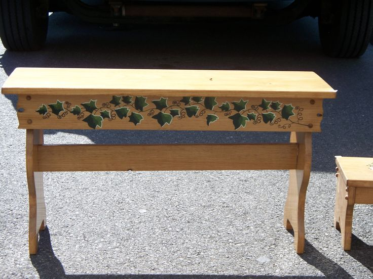 wooden bench, painted furniture, ivy bench, hand painted bench, painted seat, woodem furniture, patio bench, porch seat, patio furniture by WoodnThingsNY12534 on Etsy