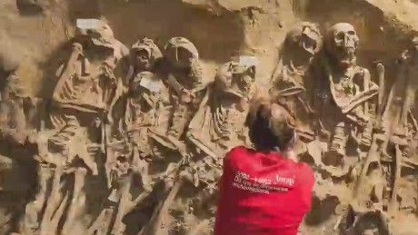 Erin McLaughlin reports on the unearthing of over 200 skeletons found underneath a supermarket in central Paris.