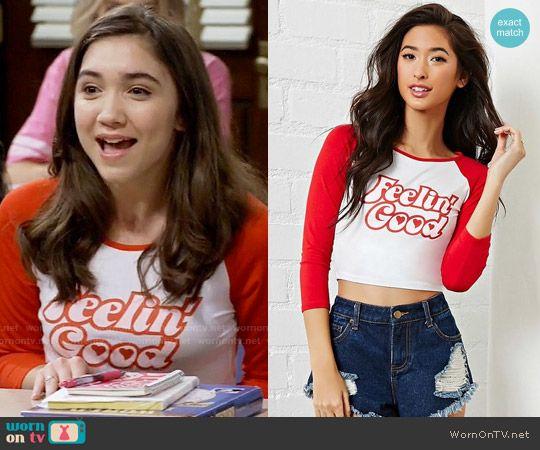Riley's red Feelin Good tee on Girl Meets World.  Outfit Details: https://wornontv.net/57993/ #GirlMeetsWorld