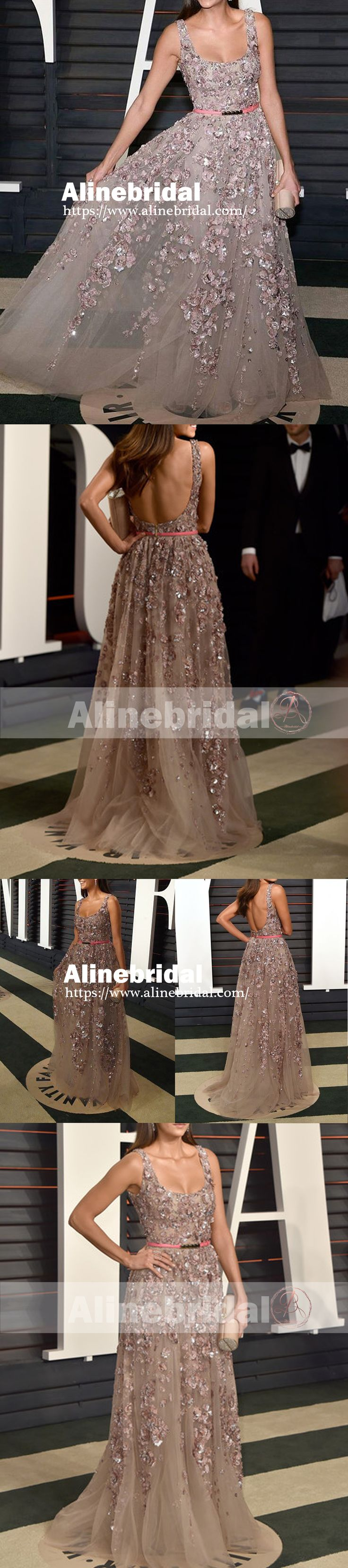 Fashion Scoop Neck Backless Handmade Flowers Beaded A-line Long Prom Dresses,PD00067